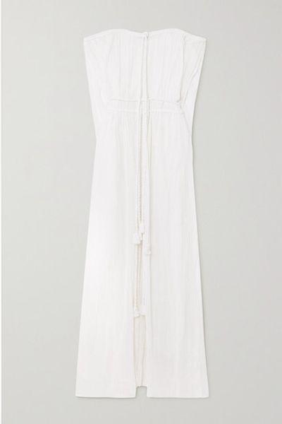 Juno Off-the-shoulder Tasseled Cotton-crepon Maxi Dress - White