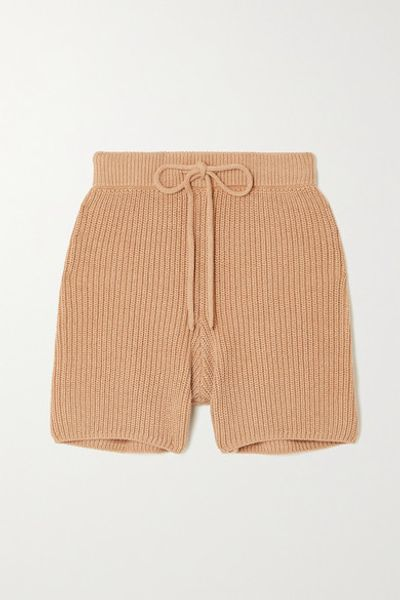 + Net Sustain Sanzo Ribbed Organic Cotton Shorts - Beige