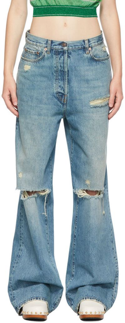 Blue Eco-Washed Organic Denim Ripped Jeans