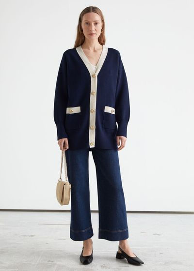 Oversized Gold Button Two-Tone Cardigan