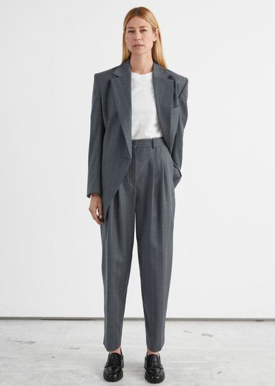 Tailored Tapered Pinstripe Wool Trousers