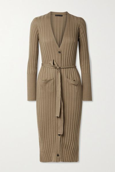 Belted Ribbed Silk And Cotton-blend Cardigan - Tan
