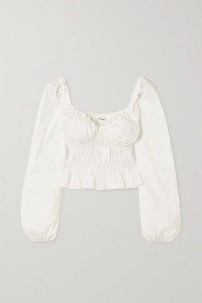 + Net Sustain Fern Ruffled Gathered Stretch Organic Cotton-poplin Peplum Top - White
