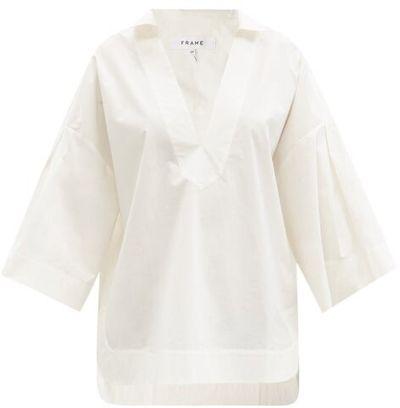 Channing V-neck Cotton-poplin Blouse - White
