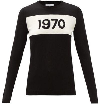 1970-intarsia Wool Sweater - Black