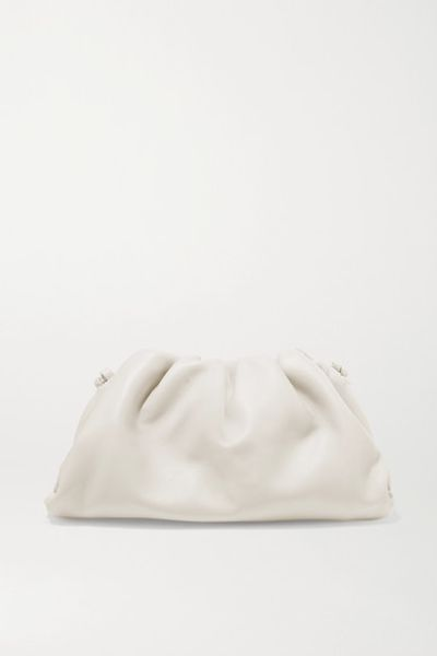 The Pouch Small Gathered Leather Clutch - Off-white