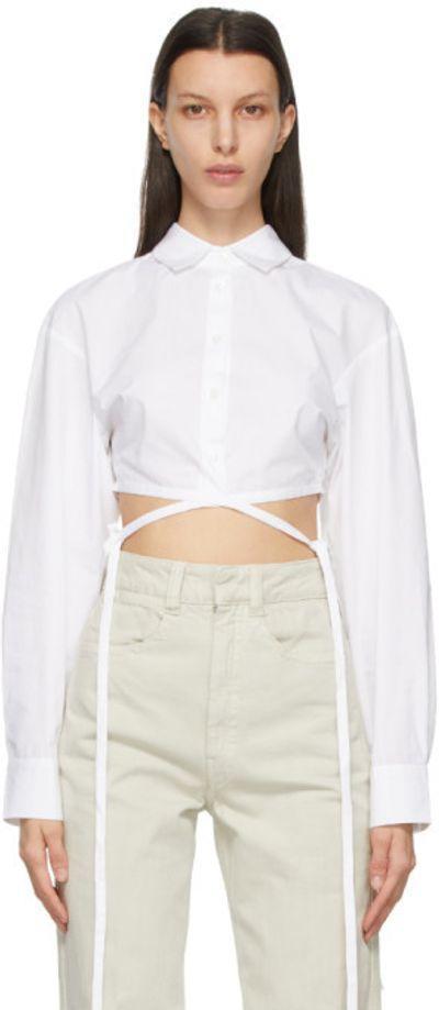 White Wrap Cropped Tie Shirt