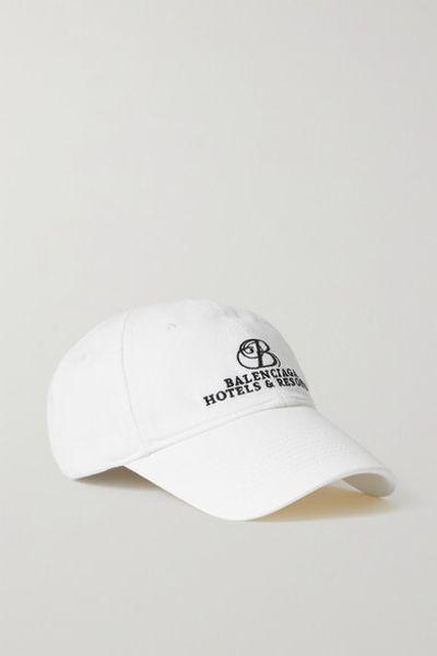 Embroidered Cotton-twill Baseball Cap - White