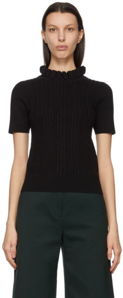 Black Cable Knit Ruffled Turtleneck