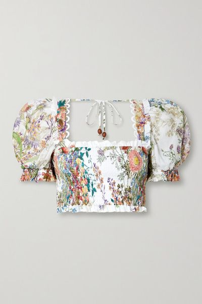 Judy Cropped Picot-trimmed Shirred Floral-print Cotton Top - White
