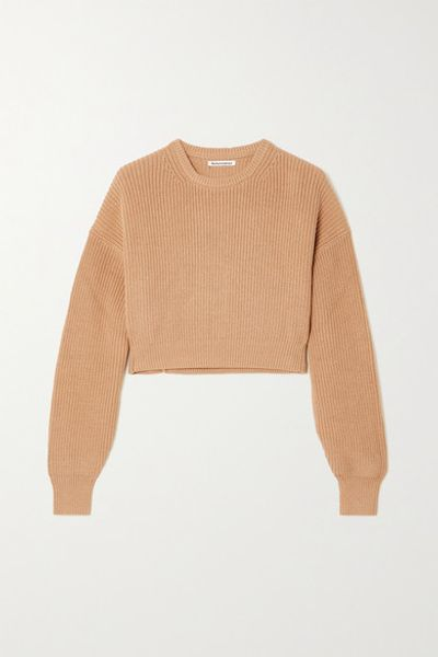+ Net Sustain Sami Cropped Ribbed Organic Cotton Sweater - Beige