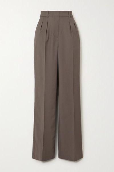 Sbiru Pleated Wool Straight-leg Pants - Gray