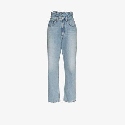 Blue Paper Bag Straight Leg Jeans