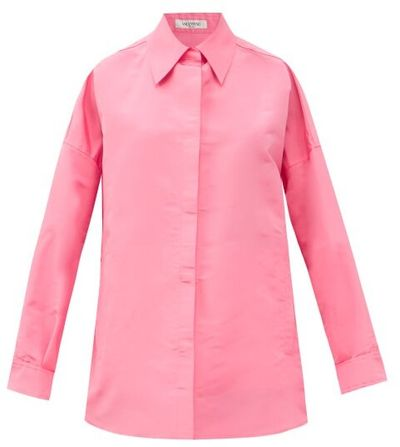 Oversized Silk-caban Shirt Jacket - Pink