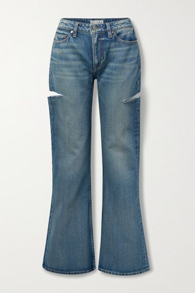 The Mimi Distressed High-rise Wide-leg Jeans - Blue