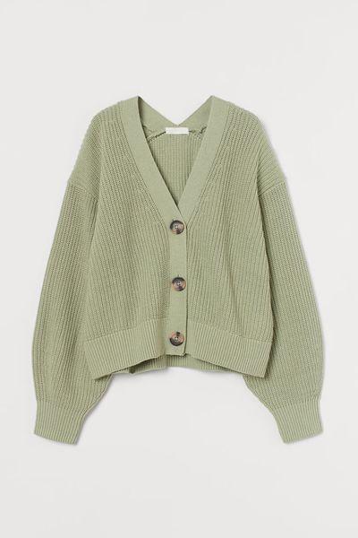 Rib-knit cardigan