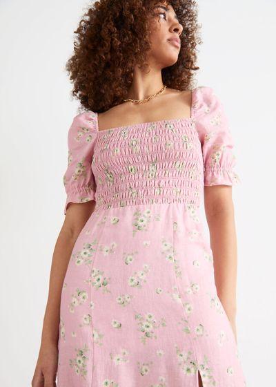 Printed Puff Sleeve Linen Midi Dress