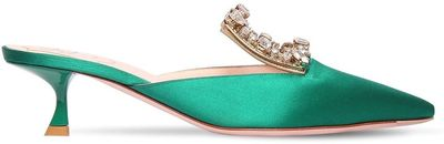 45mm Broche Embellished Satin Mules
