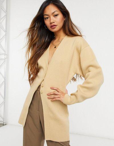 & fitted midi cardigan in dark beige
