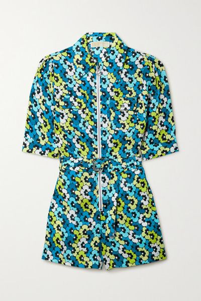 Belted Floral-print Hemp Playsuit - Turquoise