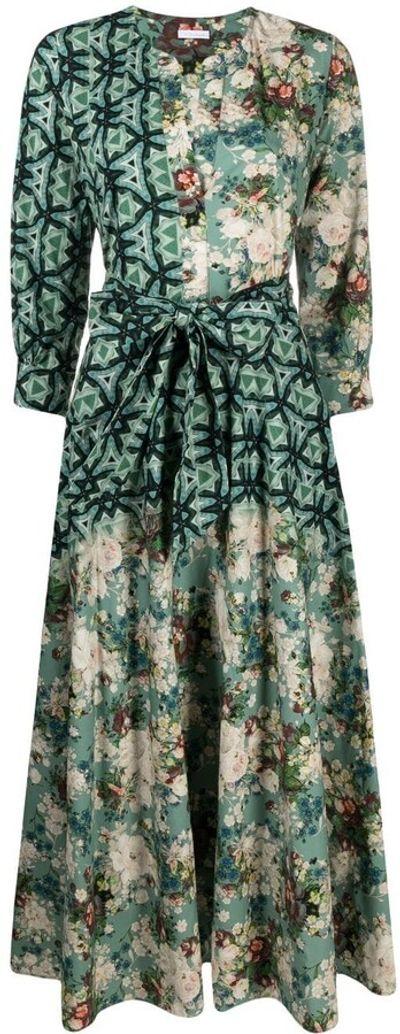 Mixed-Print Midi Dress