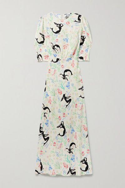 Lucile Printed Crepe Maxi Dress - White