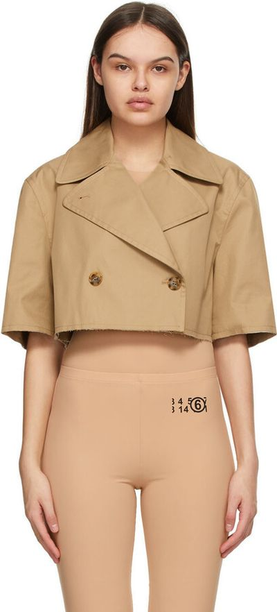 Beige Cropped Double-Breasted Blazer