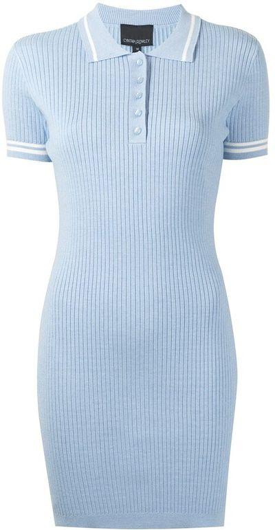 Ribbed Polo Short-Sleeve Dress