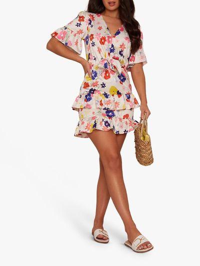 Floral Print Button Front Midi Dress, Multi