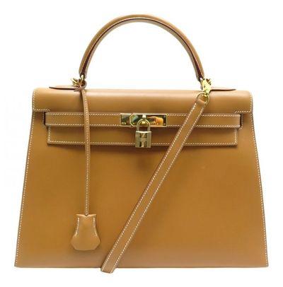 Hermã ̈S HermAs Kelly 32 Camel Leather Handbags