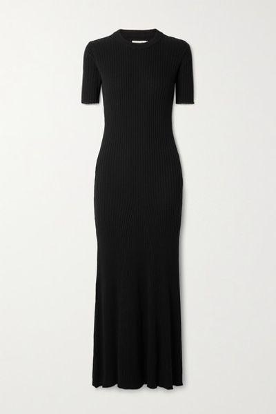 Sasha Open-back Ribbed Cotton Maxi Dress - Black