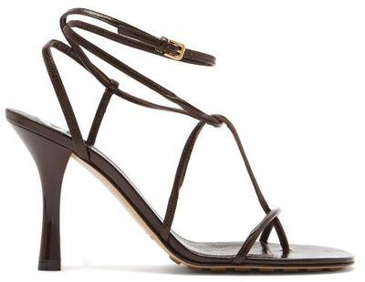 The Line Wraparound Leather Sandals - Dark Brown