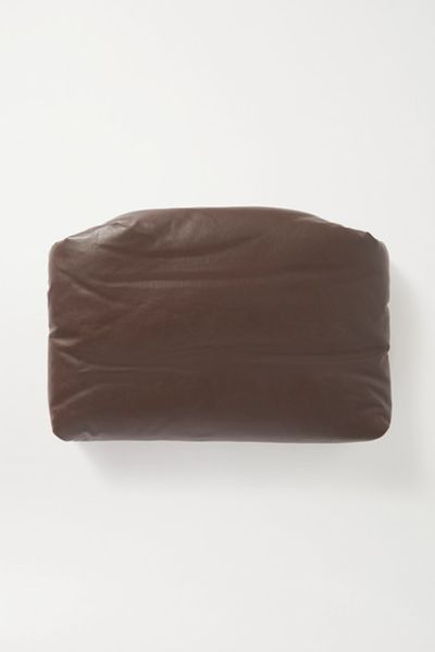 Padded Coated Cotton-blend Clutch - Brown