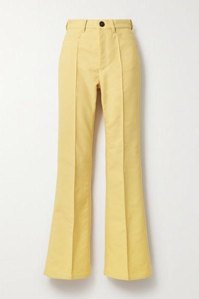 Twill Flared Pants - Yellow