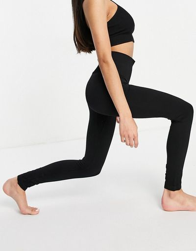 & recycled co-ord yoga seamless leggings in black