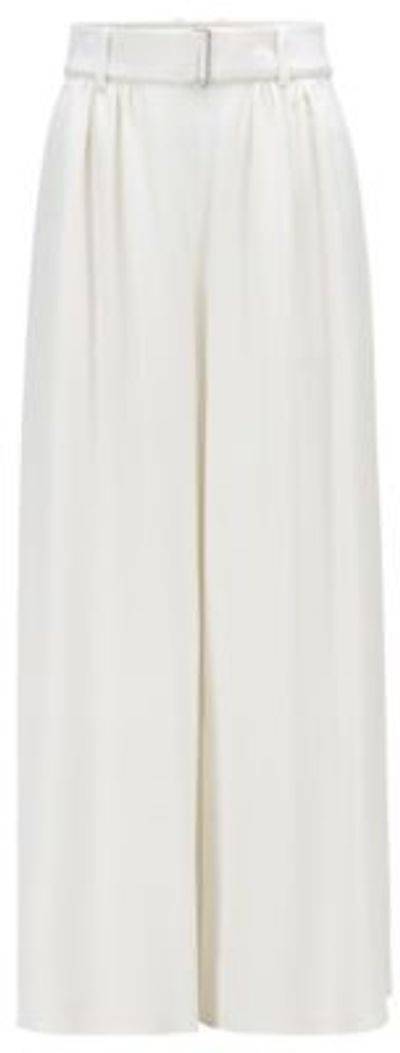 Relaxed-fit culotte trousers in Italian satin-back crepe