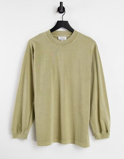 & organic cotton long sleeve t-shirt in beige