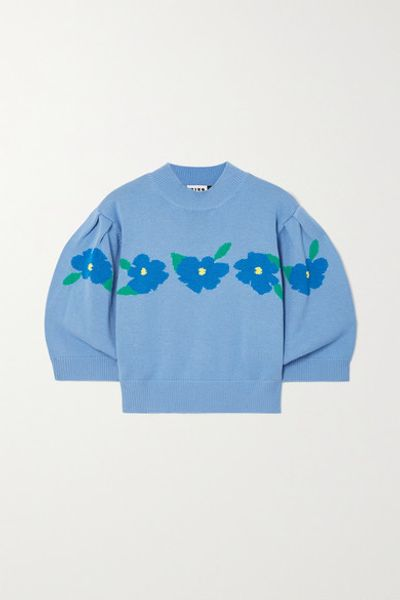 Nell Cropped Intarsia Cotton Sweater - Blue