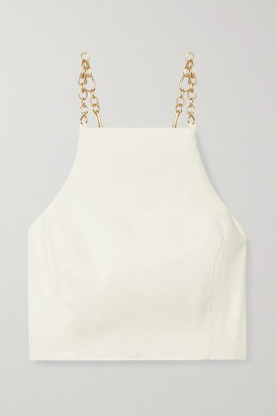 Joey Open-back Chain-embellished Linen-blend Top - Off-white