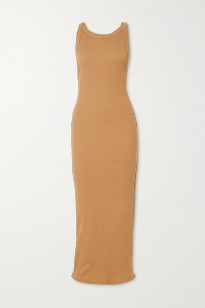 Maribel Open-back Ribbed Stretch-cotton Jersey Midi Dress - Camel