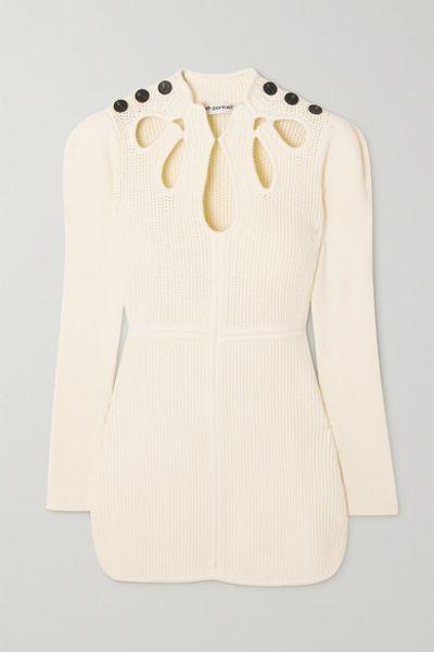 Button-embellished Cutout Ribbed Cotton-blend Mini Dress - Cream