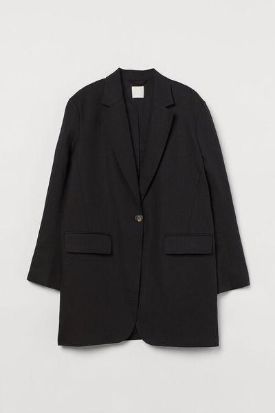 Oversized linen-blend jacket