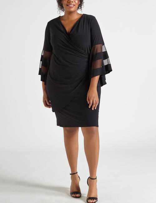 R & M Richards Plus Size Sheer Bell Sleeve Faux Wrap Dress ...