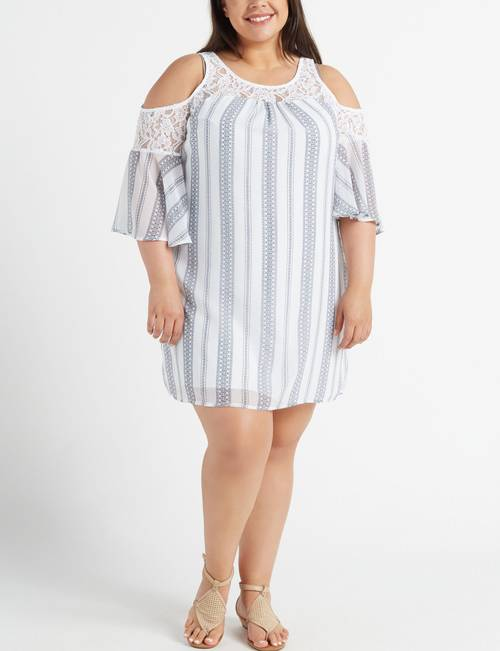 Trixxi Juniors\' Plus Size Lace & Striped Cold Shoulder Dress ...