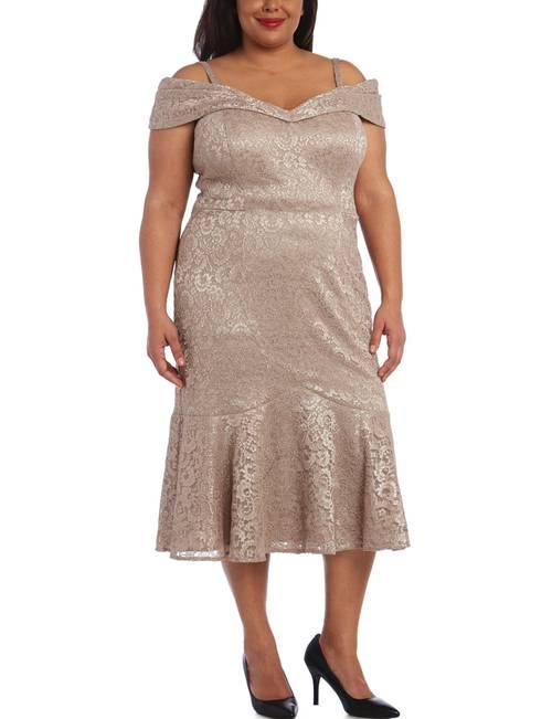 R & M Richards Plus Size Lace Cold Shoulder Midi Dress ...