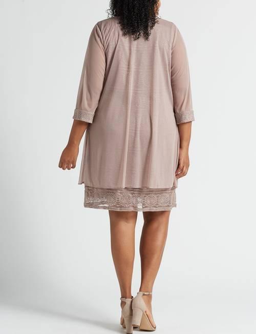 R & M Richards Plus Size 2-pc. Sheer Jacket & Beaded Dress ...