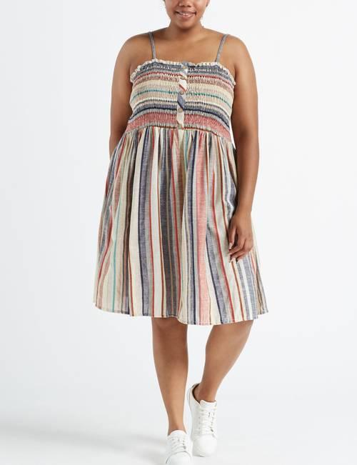 Trixxi Juniors\' Plus Size Striped Smocked Midi Dress | Stage ...