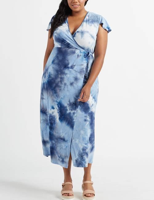 Wishful Park Juniors\' Plus Size Tie Dyed Maxi Faux Wrap Dress ...