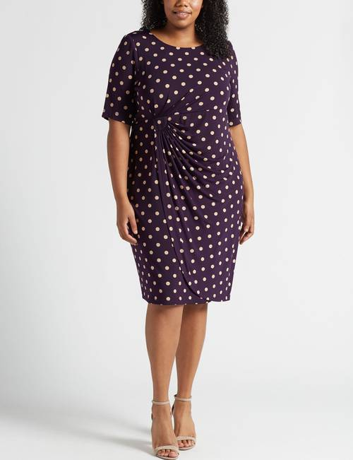 Connected Plus Size Polka Dot Side-Ruched Sheath Dress