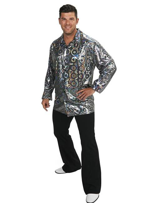 Metallic Silver Disco Shirt Plus-size Adult Costume | Stage ...